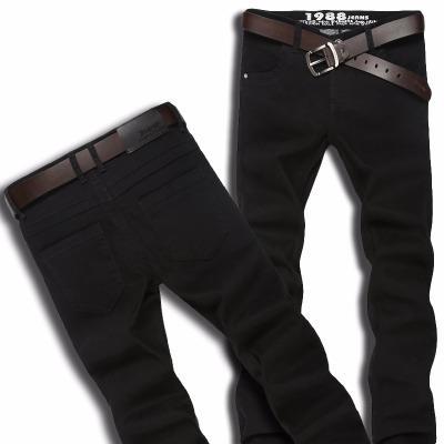jeans�n版男士牛仔��L�修身中腰��松直筒黑色牛仔�休�e��力潮
