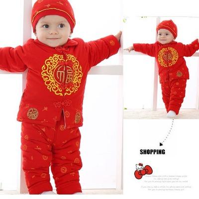 宝宝唐装礼服秋冬季过年冬装男童女婴儿童大红周岁百岁百天满月服
