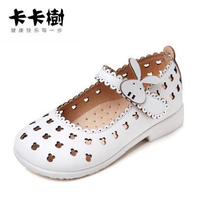 卡卡树包头女童凉鞋201新款女孩韩版夏季洞洞皮鞋宝宝儿童公主鞋