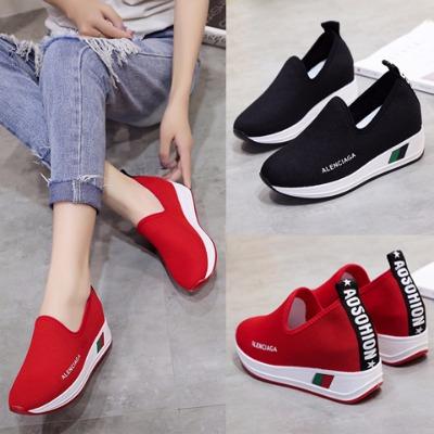 韩版一脚蹬针织休?#34892;?#26053;游鞋透气网面厚底内增高运动鞋学生鞋女鞋