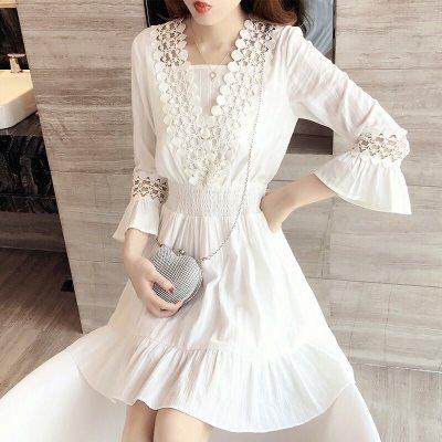 2018春装新款女韩版白色裙子显瘦a字裙夏修身时尚蕾丝连衣裙