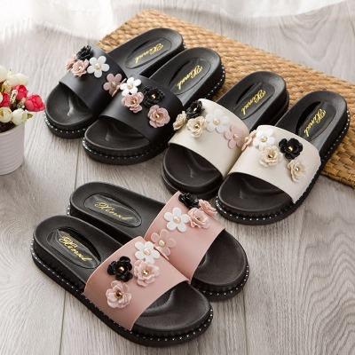 凉拖鞋女夏外穿韩版学生时尚中跟平底厚底松糕底防滑沙滩鞋一字拖