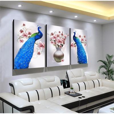 客厅装饰画欧式三联画无框画电视沙发背景墙挂画卧室床头北欧孔雀