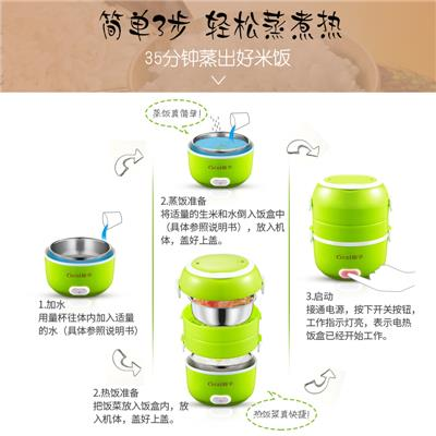 格子电热饭盒 便携式饭盒双层加热饭盒电饭盒热饭蒸饭盒 小饭锅热