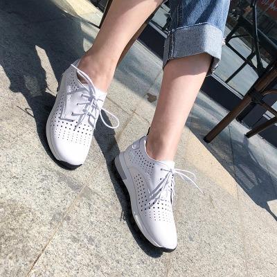 贝鸵真皮女鞋镂空厚底小白鞋系带时尚韩版休闲鞋软皮软底牛皮