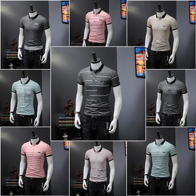 201夏季条纹T恤男短袖Polo衫潮流修身韩版青年翻领保罗半袖男装青