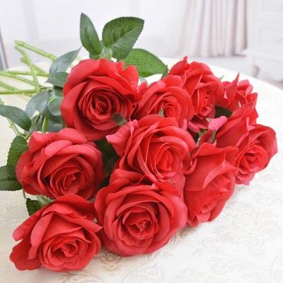 仿真玫瑰花束10支套装塑料花假花单支客厅装饰花绢花家居摆件花艺
