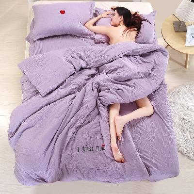韩版水洗棉可裸睡纯色四件套1.5/1.8/2.0米床上用品床单被套4件套