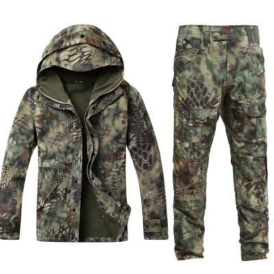 新款冬季蟒纹迷彩战术冲锋衣套装男军迷户外野战军装特种兵作战服
