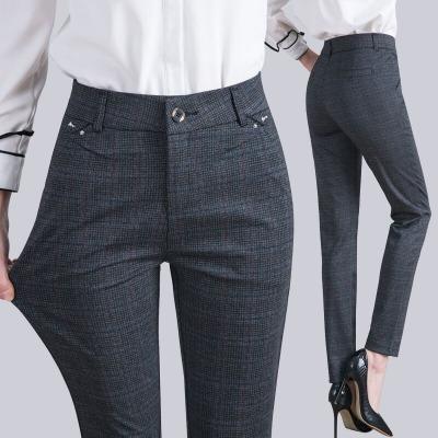 长裤女春夏新款高腰大码休闲格子弹力修身女士中年西装小直筒女裤