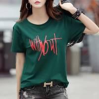 【95%棉四色五码】圆领印花短袖t恤女韩版新款夏季女装上衣打底衫