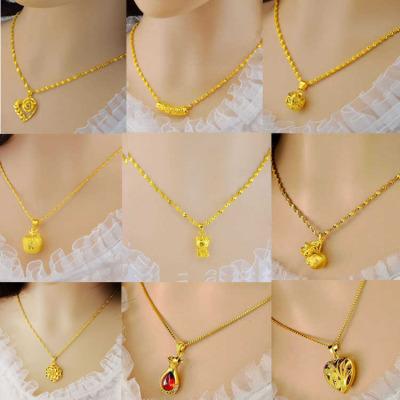 越南沙金饰品镀金项链女士不褪色防过敏欧币金项链送女友生日礼物