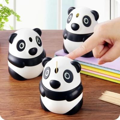 时尚创意居家自动熊猫牙签筒手压式精致塑料牙签盒便携牙签收纳罐